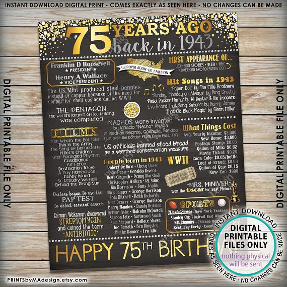 75th Birthday 1943 printable chalkboard style poster -- A fun birthday poster filled with facts, events, and tidbits from the USA in 1943. Makes an excellent gift or party decoration! *** DIGITAL PRINTABLE FILE ONLY! No physical prints will be sent *** • INSTANT DOWNLOAD! Simply