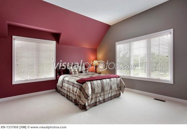 Maroon walls are tricky, too. If they're totally maroon it makes the whole place look dark, but I look this paint combination with just one maroon wall. This is classy. The touch of maroon on the bed isn't a bad idea either.