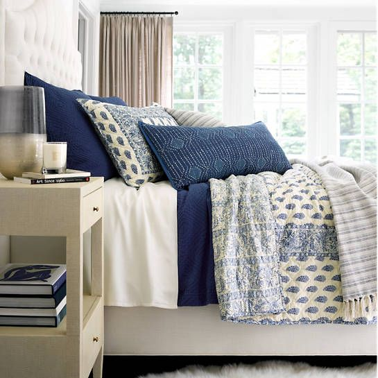 Featuring an elaborate, Indian-inspired pattern of paisleys, flowers, and vines in a stunning ink-blue hue, this cotton quilt looks incredible on its own or juxtaposed against neutrals and bright bedding coordinates. • 100% cotton. • Straight edge.