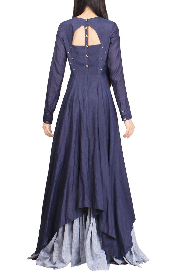 Shop Debashri Samanta - Indigo & light blue floral handwoven jamdani maxi dress Latest Collection Available at Aza Fashions
