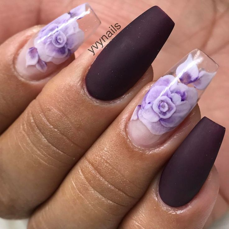 "4,803 Likes, 36 Comments - Yvett (@yvynails) on Instagram: ""3D encapsulated roses using @christrionails colored acrylic and dark plum color ""violet bloom"" from…"""