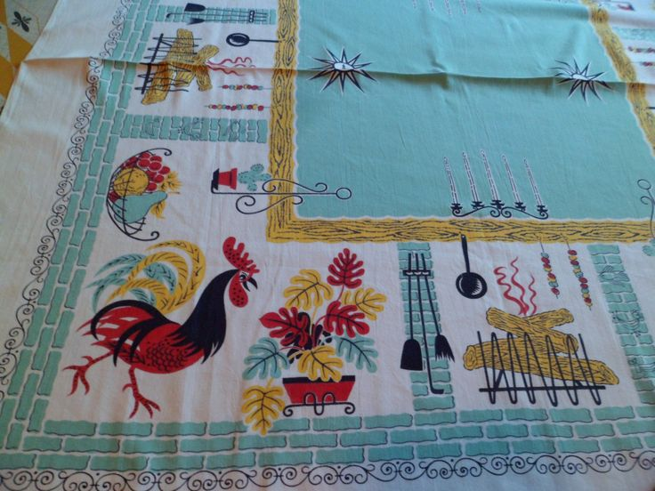 """Vintage Mid Century Kitchen Farmhouse Tablecloth~44 x 43""""~Aqua Roosters/Wrought Iron/Fireplace/Stylized Leaves by PleasantDaysVintage on Etsy"""
