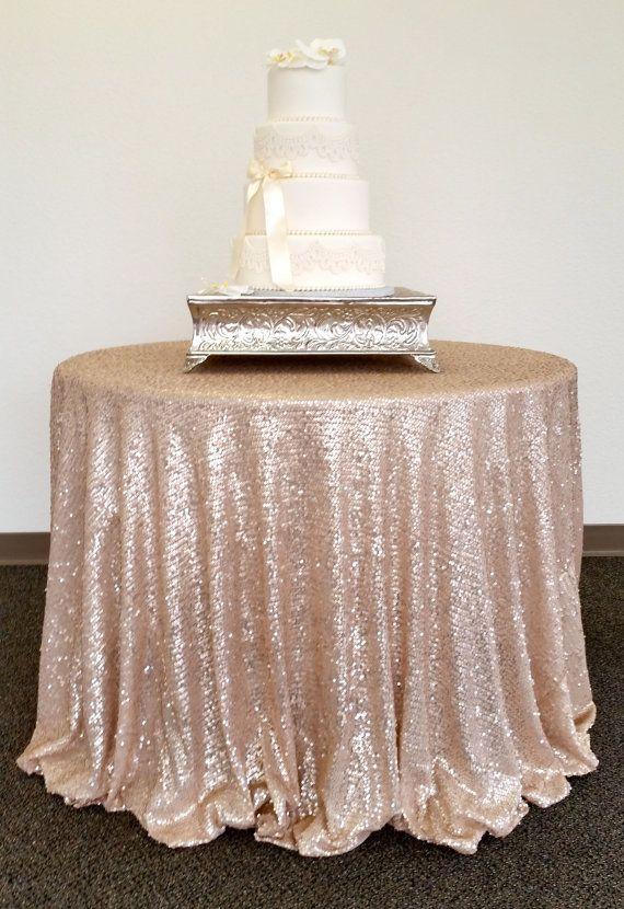 Champagne Glitz Sequin Table Cloth Tablecloth Cake