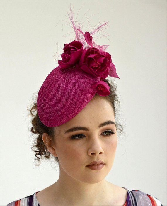 93c22b9355c64 Pink Hatinator - Cerise Fascinator- Dark Pink Percher Hat - Occasion Hat -  Pink Cocktail Hat - Wedding Fascinator - Ascot - Ladies Day Hat in 2019