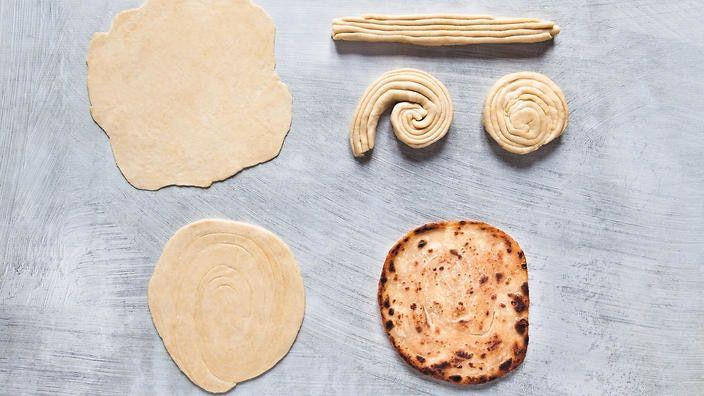 Paratha (wholemeal layered flatbread)
