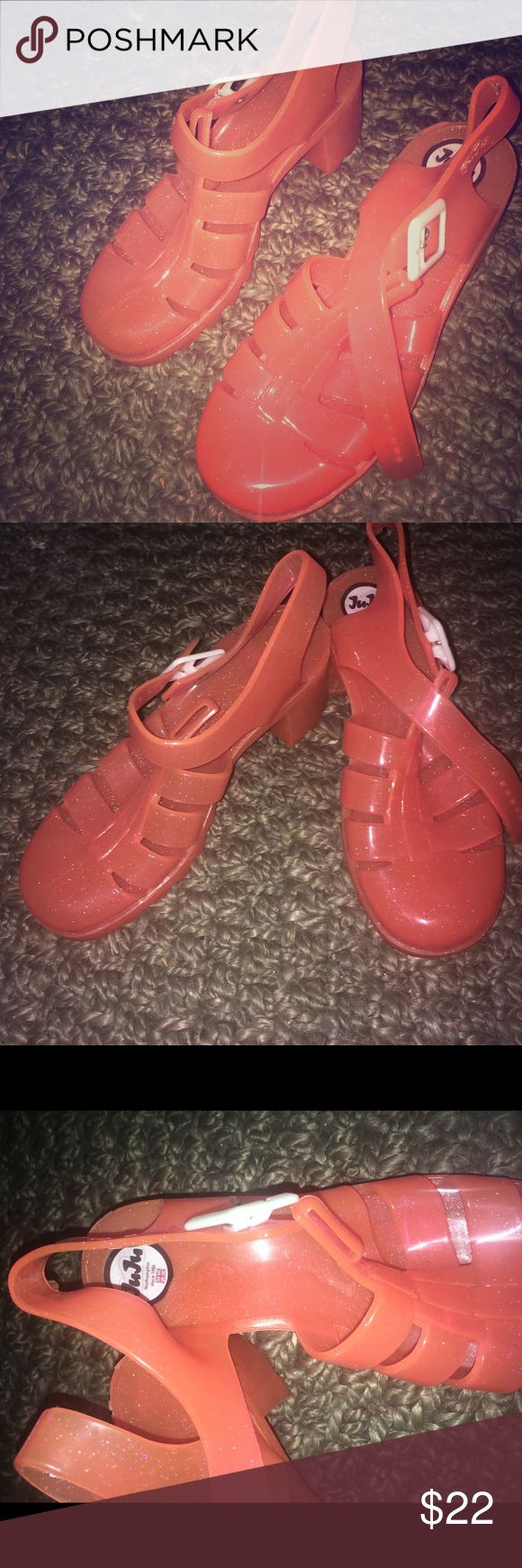 Juju jelly heels!!!! Worn once to a xmas party, but they don't fit. I ordered the wrong size.  So adorable jellies I would never get rid of if they fit JuJu Shoes Sandals