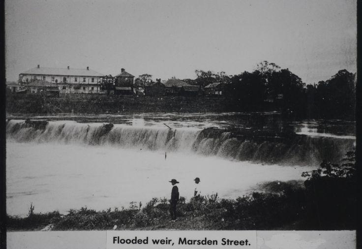 Marsden Street Weir on the Parramatta River in flood, circa 1880 LSP00327