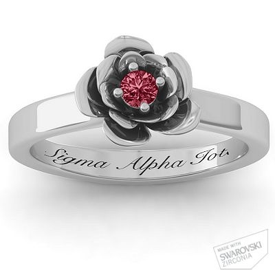 "Flourish Rose Ring. Red stone, engraved with ""Sigma Alpha Iota""....would be pretty with something else engraved instead of these exact words"