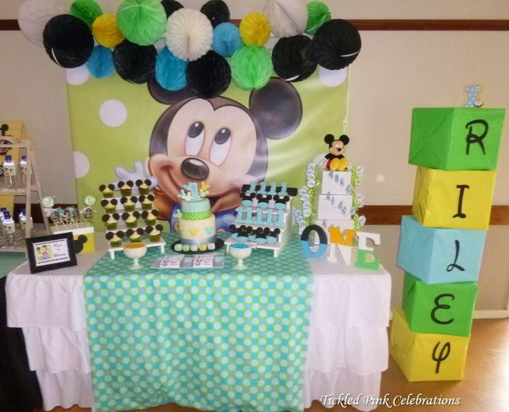 Baby Mickey Mouse 1st birthday party table styled by www.tickledpinkcelebrations.com.au