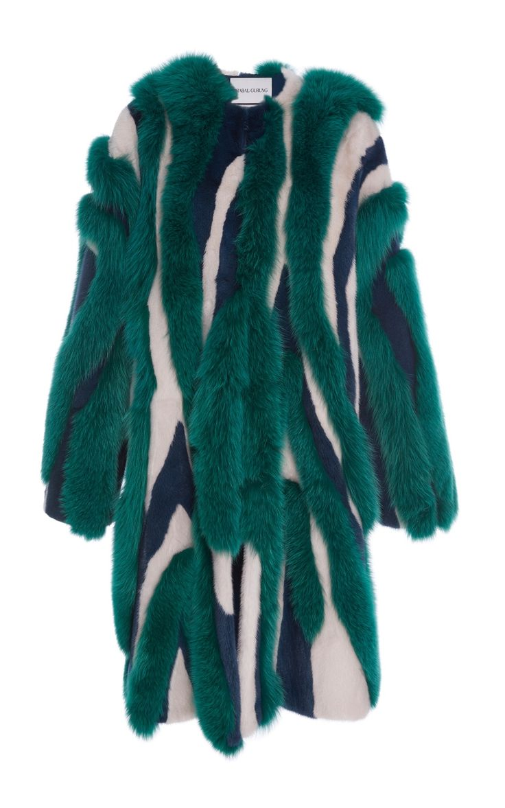 Striped Mink and Fox Fur Coat by Prabal Gurung
