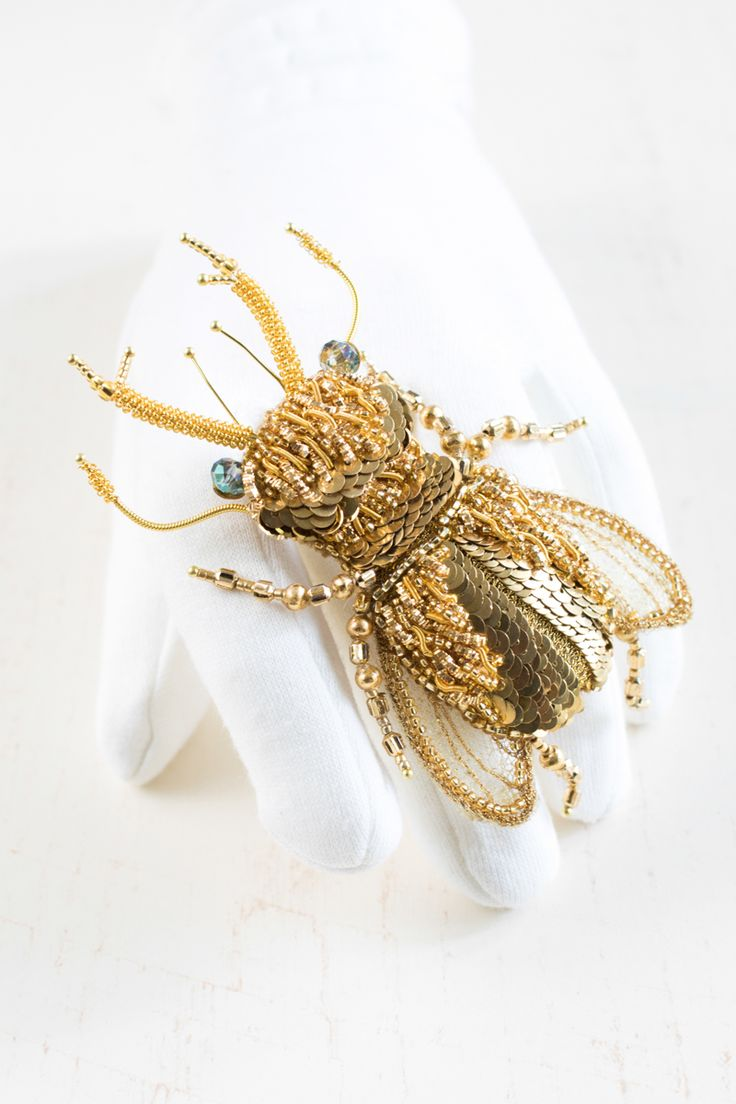 Hand embroidered Brooch ''Stag Beetle - Robert'' by Eve Anders. Handmade Jewelry design.