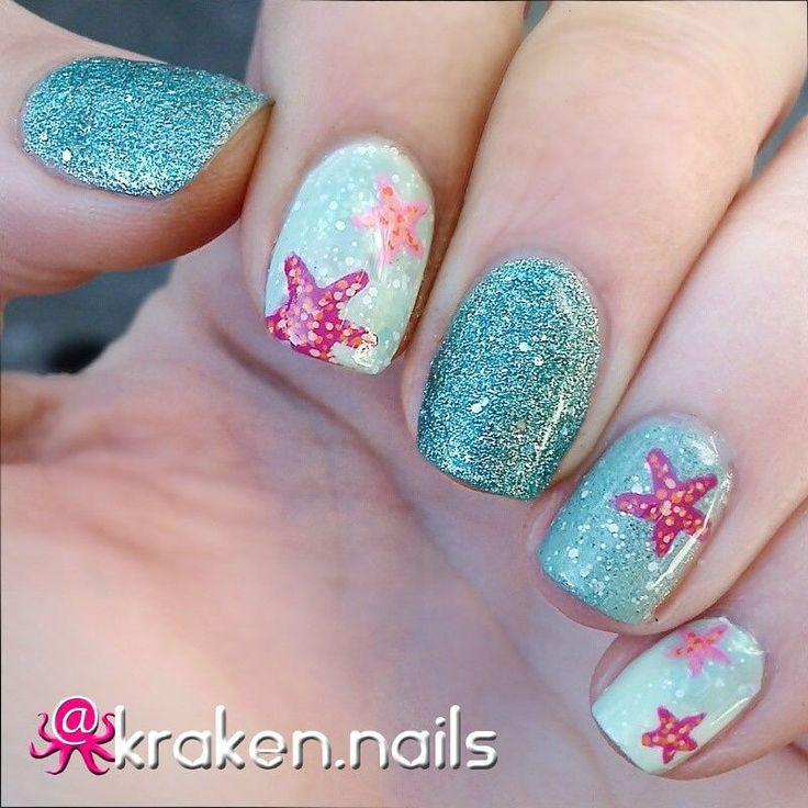beach inspired nails with starfish
