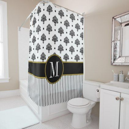 Chic Black White Damask Dots Stripes Monogram Shower Curtain - initial gift idea style unique special diy