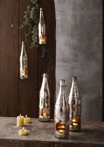 """Wine bottles turned into """"mercury glass"""". May have found the final piece to complete the centerpieces!"""