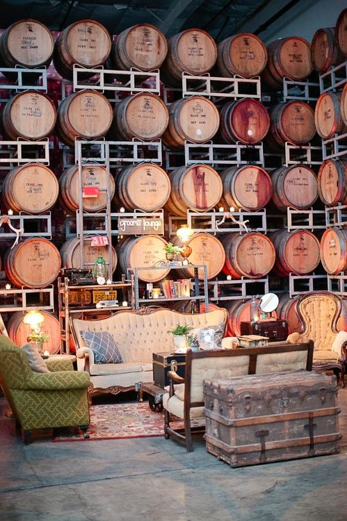 Wine Barrel Lounge. This is going to be my living room one day. LOL