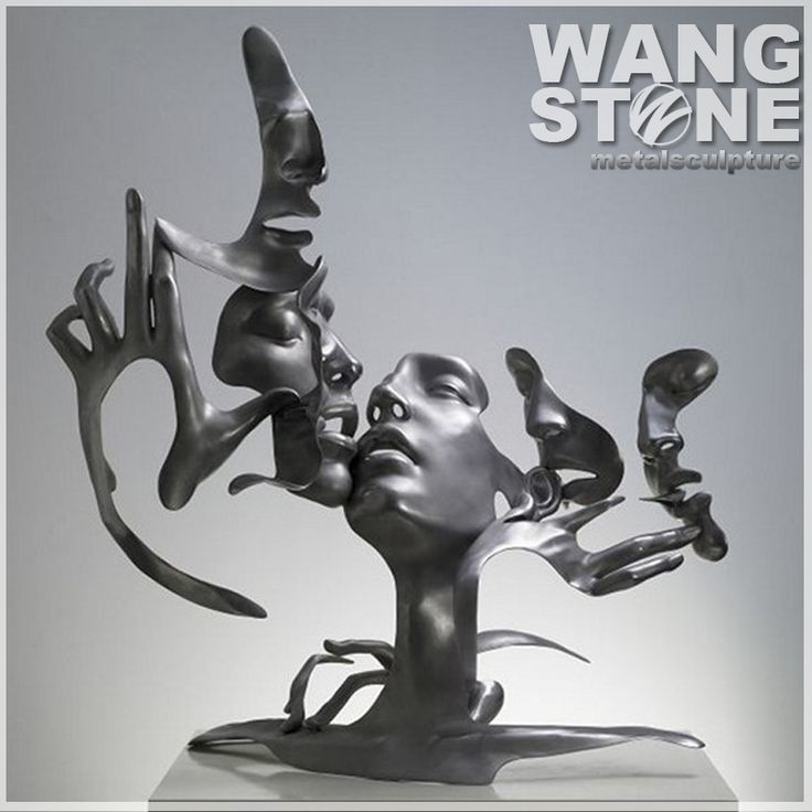 Modern Interior Decor Abstract Art Faces Stainless Steel Sculpture