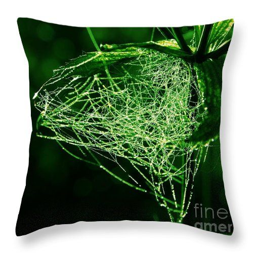 """Morning Dew In The Green Throw Pillow by Sverre Andreas Fekjan.  Our throw pillows are made from 100% spun polyester poplin fabric and add a stylish statement to any room.  Pillows are available in sizes from 14"""" x 14"""" up to 26"""" x 26"""".  Each pillow is printed on both sides (same image) and includes a concealed zipper and removable insert (if selected) for easy cleaning."""