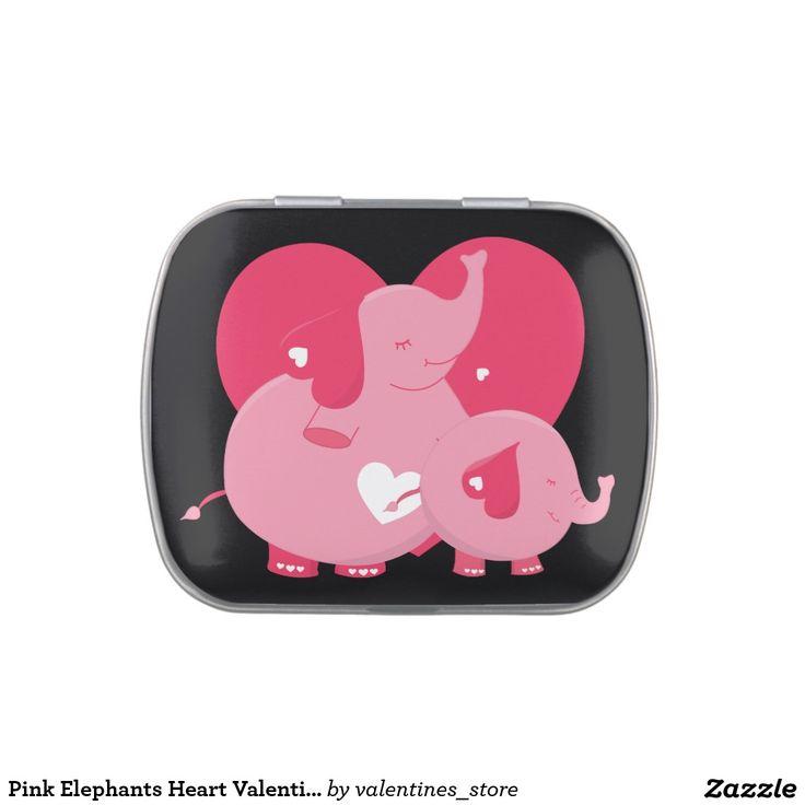 pink elephants heart valentines day candy tins - Elephant Valentine