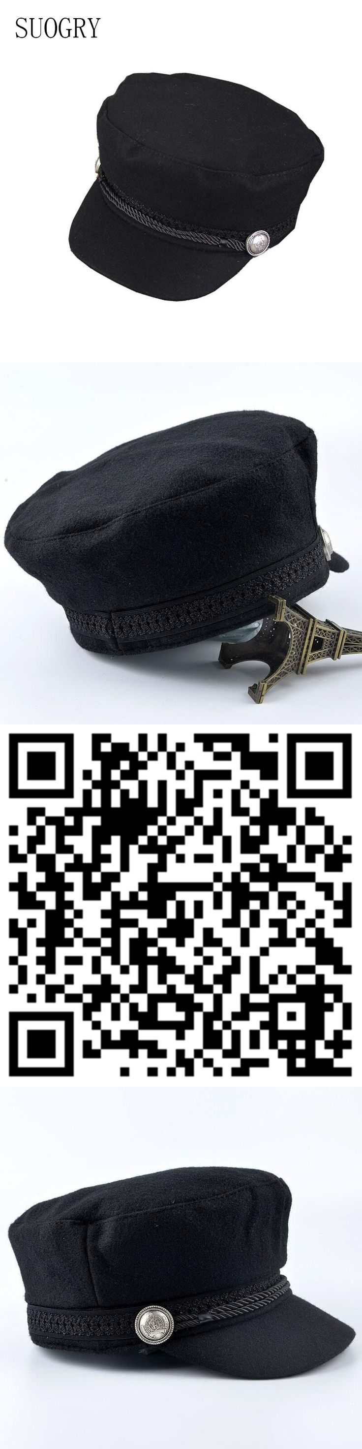 SUOGRY Winter Hats For Women Men Octagonal Cap Wool Button Baseball Caps Sun Visor Hat Gorras Casquette Touca Black Casual