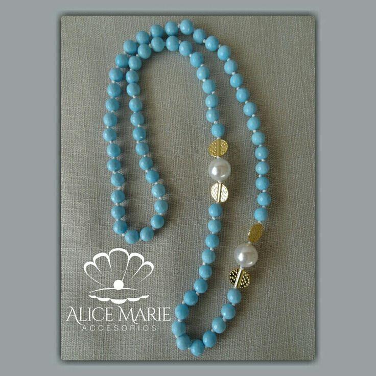 Collar piedras naturales y perlas