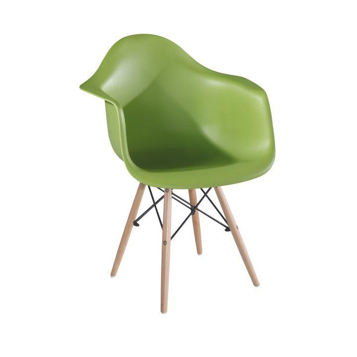 Stolička DAMEN, zelená/buk
