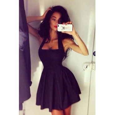 Cheap Sexy Square Neck Spaghetti Strap Sleeveless Black Polyester Pleated Mini Party Dress