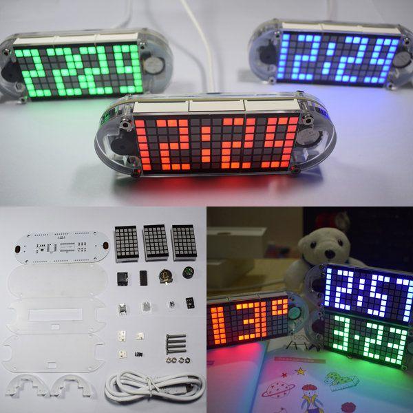 DIY DS3231 Touch Key Precision Hight-Brightness LED Dot Matrix Display Desktop Alarm Clock Kit