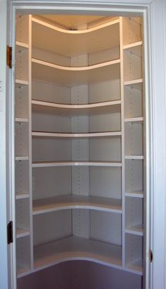pantry... corners should be designed like this to avoid wasted space.