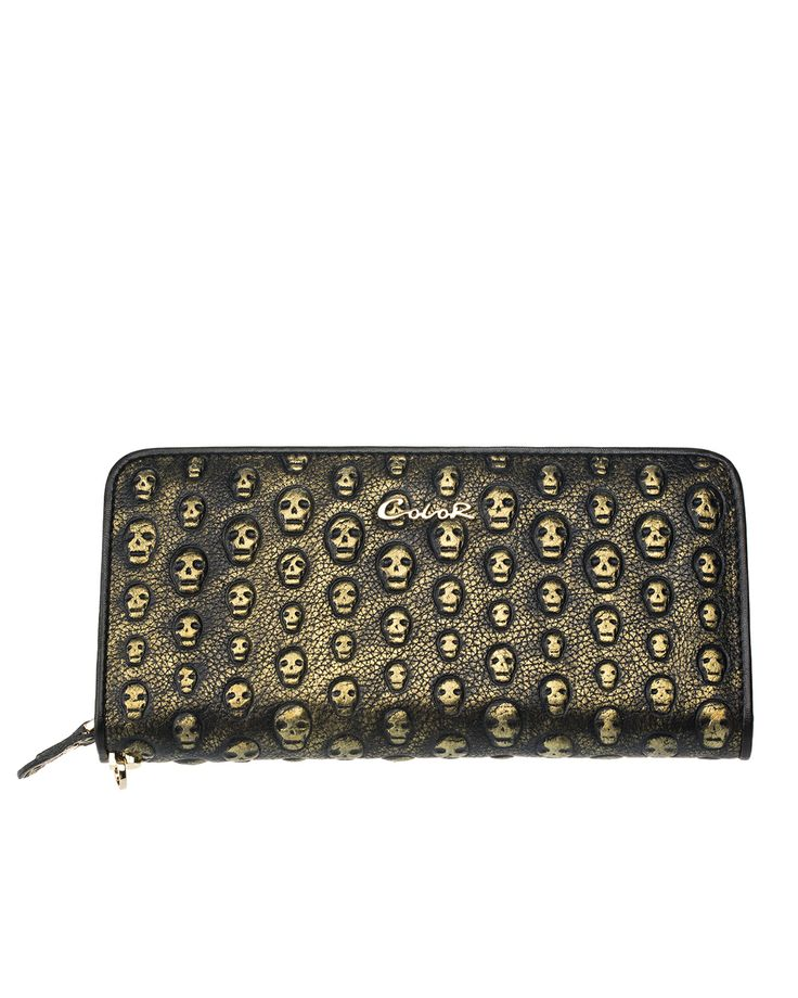 Skull Gold Leather Clutch