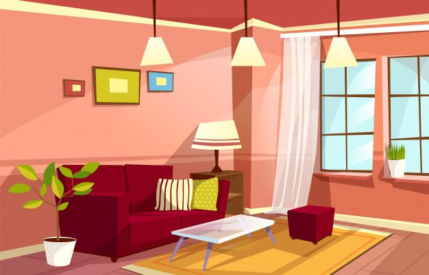 Download Cartoon Living Room Interior Background Template Cozy