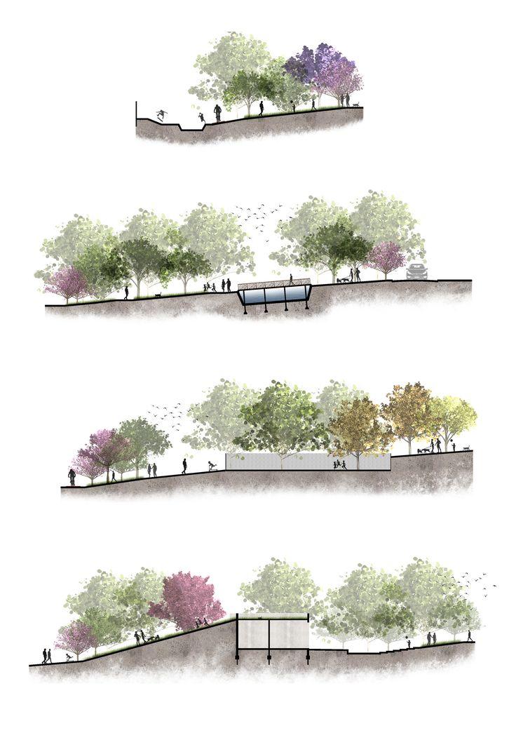 Cortes. Projeto Urbano. (Multiplicidade Espacial - Natalia Nery)