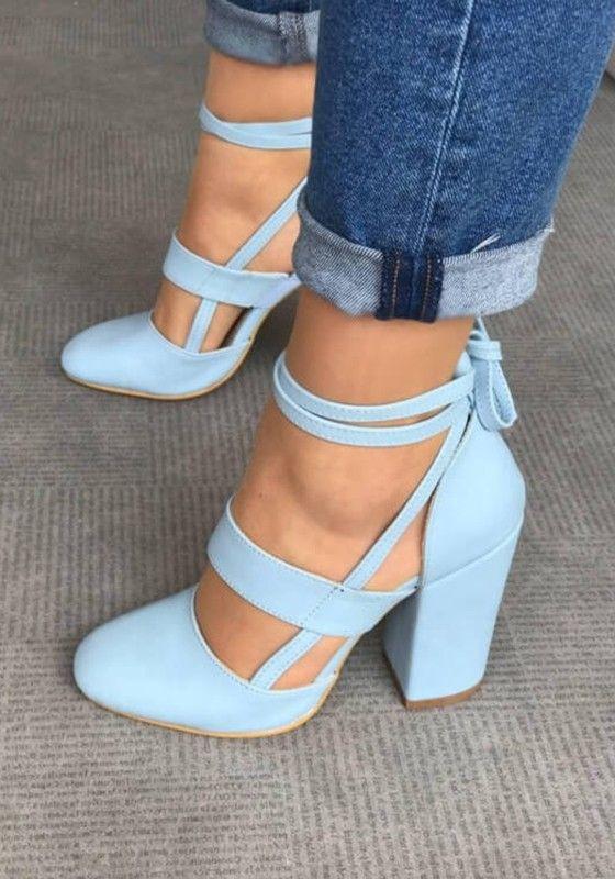 de4555923b0 Blue Round Toe Chunky Fashion High-Heeled Sandals | wedding plans in ...