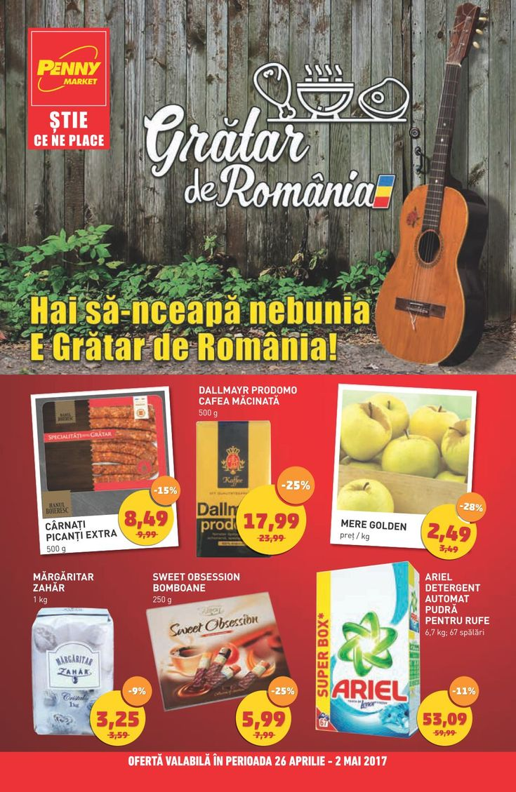 Catalog Penny Market 26 Aprilie - 02 Mai 2017! Oferte: carnati picanti extra 8,49 lei; Sweet Obsession bomboane 250 g 5,99 lei; Ariel detergent automat