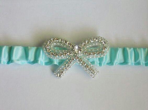 Tiffany Blue Wedding Garter With Crystal Bow Something Lydia