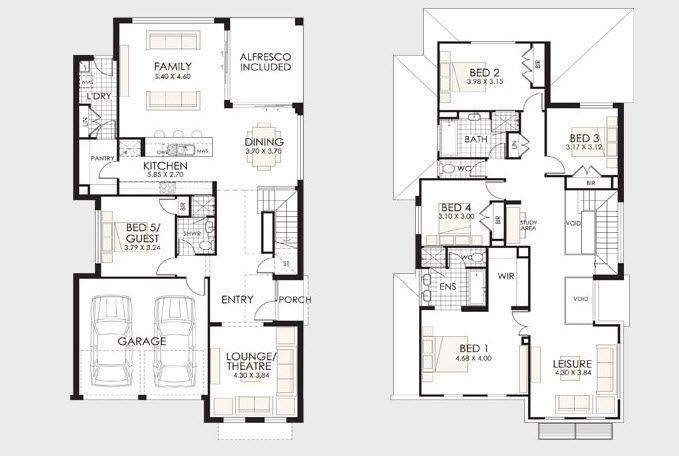 Dise o y planos de casas de dos pisos con ideas para for Planos de casas de 2 pisos