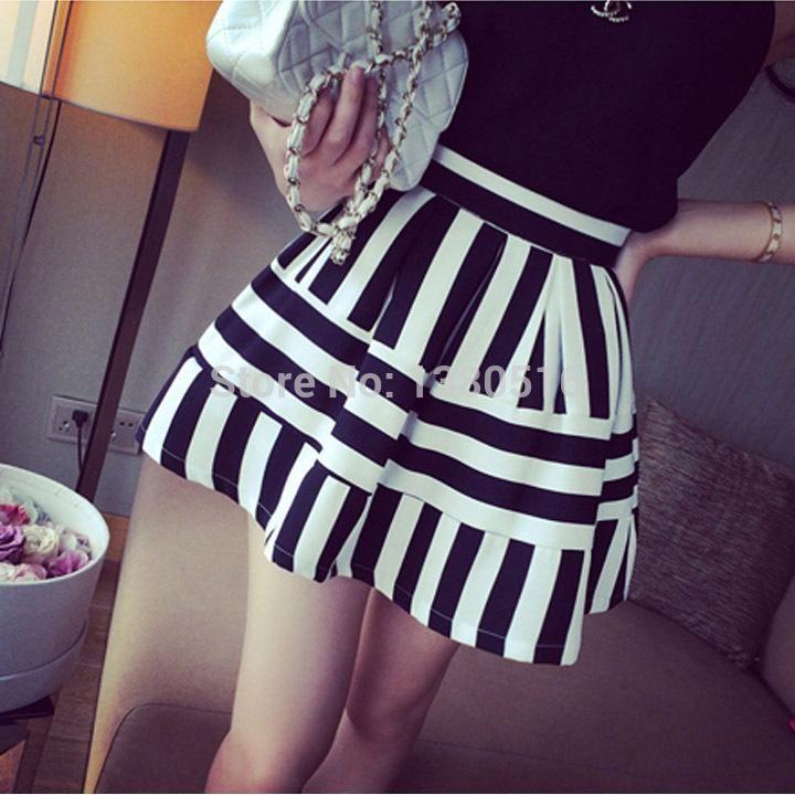 2014 Robe Femmes Summer Retro Striped boule Jupe taille haute Tutu Jupes # 005 SV006243