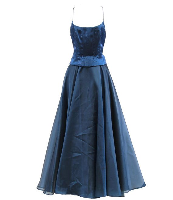 CACH'E Midnight Blue Corsett Tulle Chiffon by DianasChicBoutique