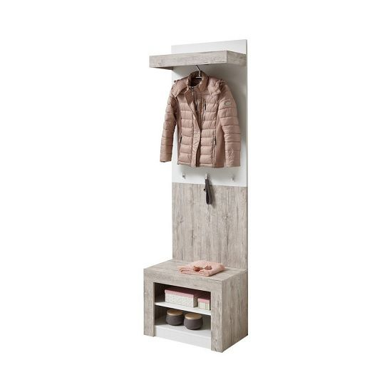 Midas Wall Mounted Hallway Stand In Sand Oak And White