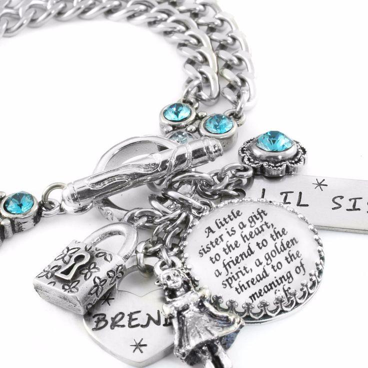 Personalized Sisters Charm Bracelet, Little Sister