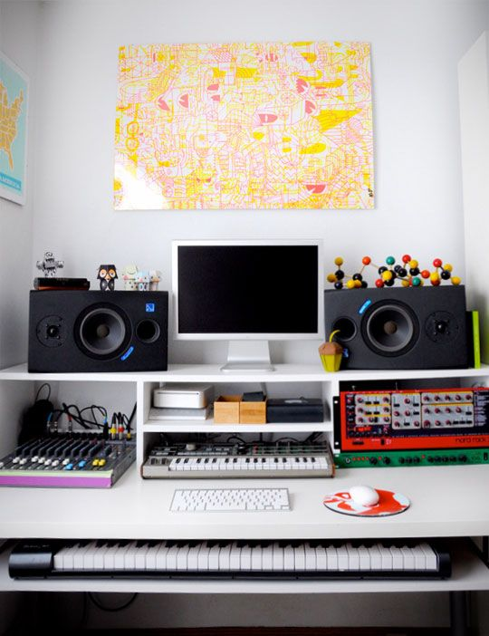 strategy for organizing music equipment in our home office