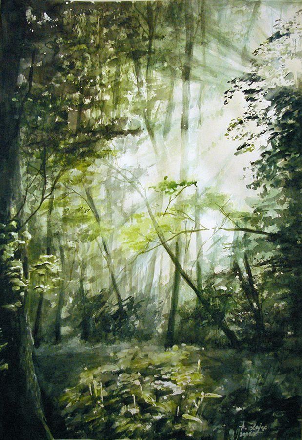 Aleksandra Zając, akwarela, las