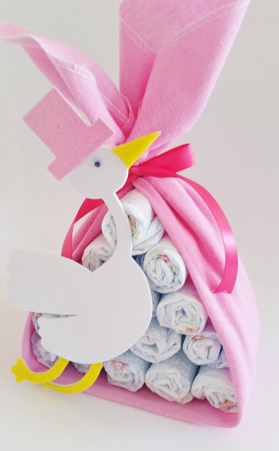 Stork Bundle Baby Shower Gift, Stork Baby Shower Center Piece, Girl Baby Shower Decor, Sip and See Centerpiece