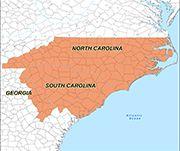North Carolina, South Carolina, Georgia