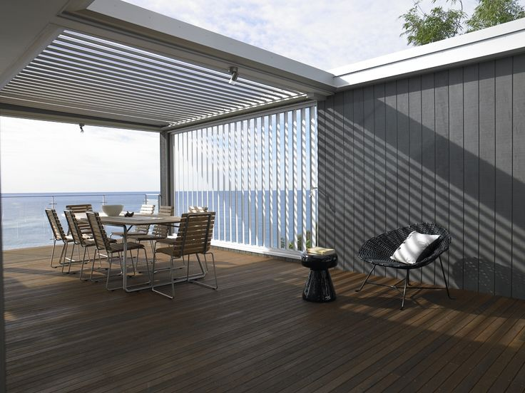 Utz-Sanby Outdoor Dining Areas _ Newport, Sydney // 2007. Nice steel detail around the Vergola, as well as the contrasting timber cladding to soften the space.