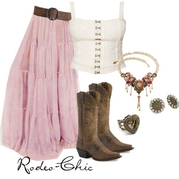 by rodeo-chic, Maxi skirt with cowboy boots and @Michal Negrin necklace, western, prairie