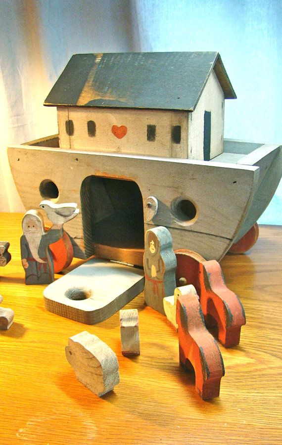 Vintage Handmade Wood Toy. Noah's Ark with Wooden Animal Blocks on Wheels. Gorgeous Vintage Country Farmhouse Cottage Display or Play.