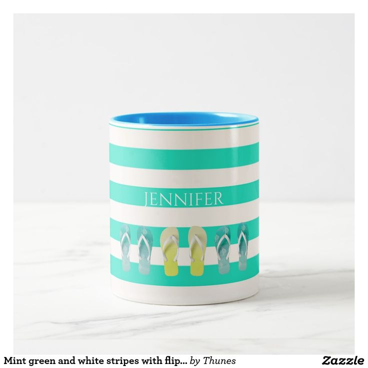 Mint green and white stripes with flip flop decor Two-Tone coffee mug