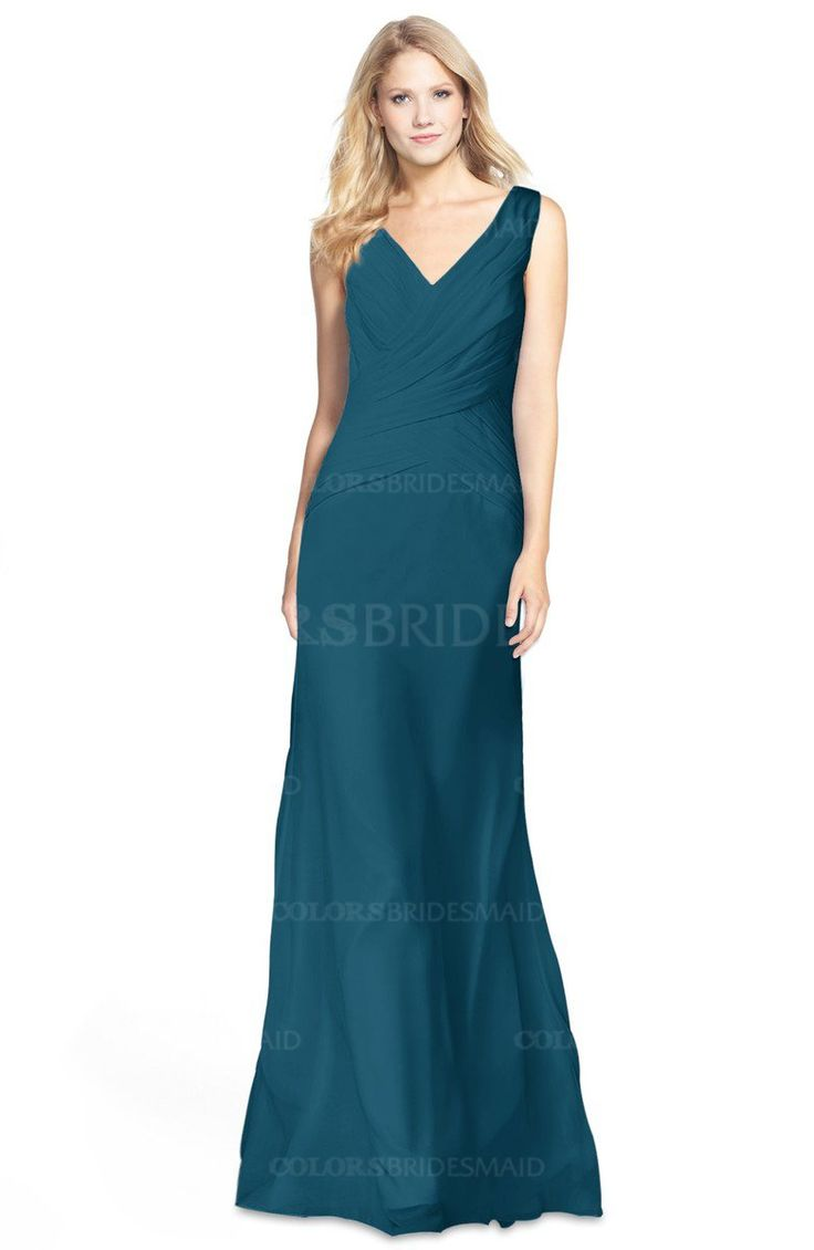 Moroccan Blue Gorgeous Fit-n-Flare V-neck Sleeveless Chiffon Ruching Bridesmaid Dresses