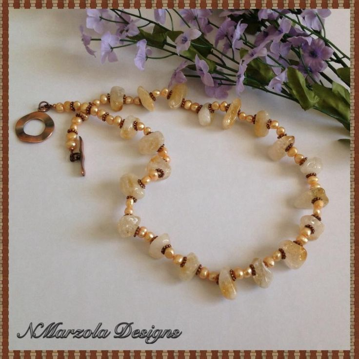 Citrine and Pearl Necklace - Jewelry creation by NMarzolaDesigns