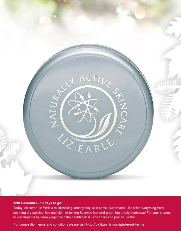 For a chance to win Liz Earle Superbalm, repin and post to Twitter with #LizEarleXmas on 12th December.